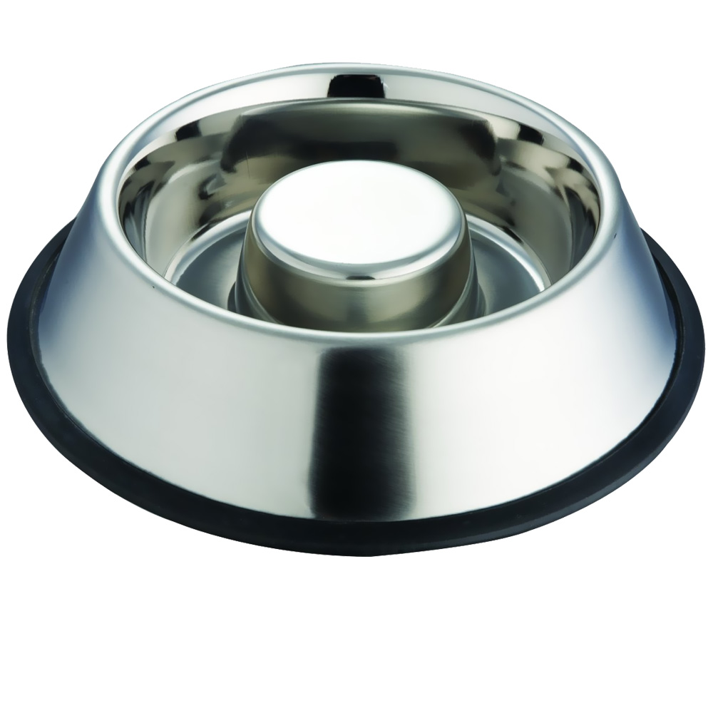 INDIPETS-STAINLESS-STEEL-NON-TIP-ANTI-SKID-HEALTH-CARE-SLOW-FEEDING-DISH-MEDIUM
