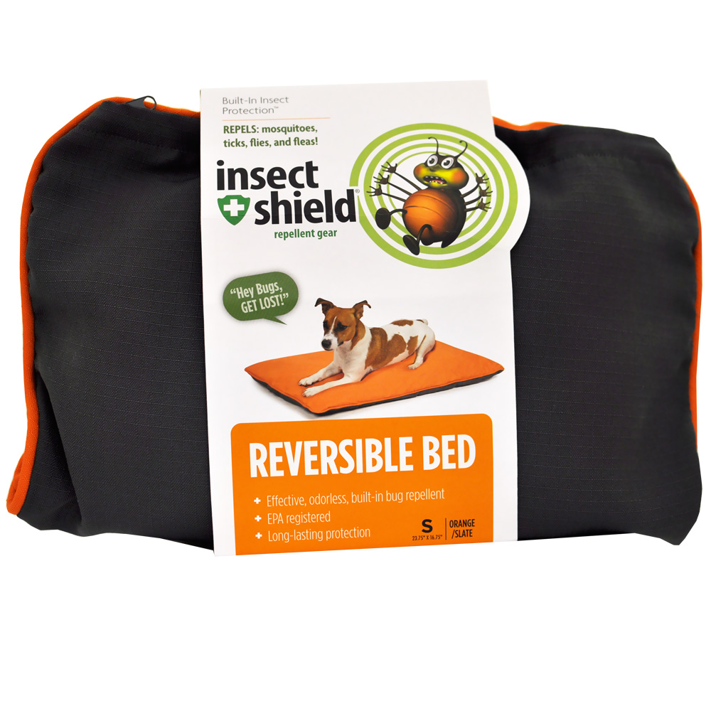 Insect Shield Reversible Bed Small - Grey/Orange im test