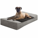 "JLA Pets Shadow Faux Suede Pillow Top Stretch Lounger - Green/Chocolate (42x24"")"