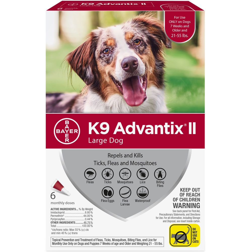 6 MONTH K9 Advantix II RED for Large Dogs (21-55 lbs)
