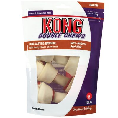 KONG Double Chews Bacon Rawhide - Small (4 pack)