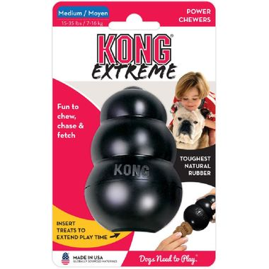 Kong Extreme Goodie Bone Medium Rubber Power Chewers Dog Toy Black Made in USA