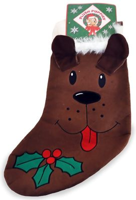 Kyjen Plush Puppies Holiday Stocking - Brown from EntirelyPets