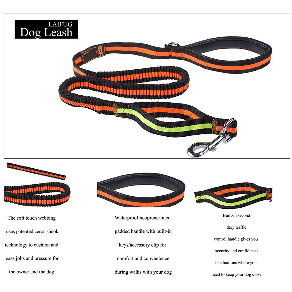 LAIFUG-BUNGEE-DOG-LEASH-BLACK-PINK-50-INCH