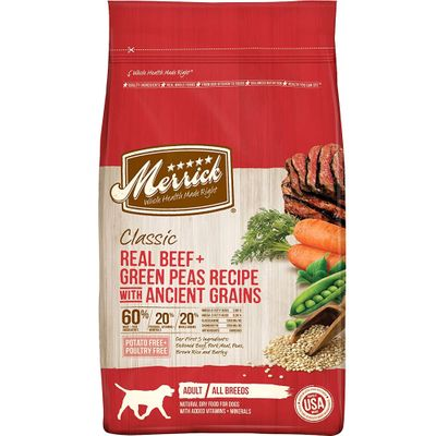 Merrick Classic Real Beef, Green Peas Recipe with Ancient Grains Adult Dog Food (4 lbs)