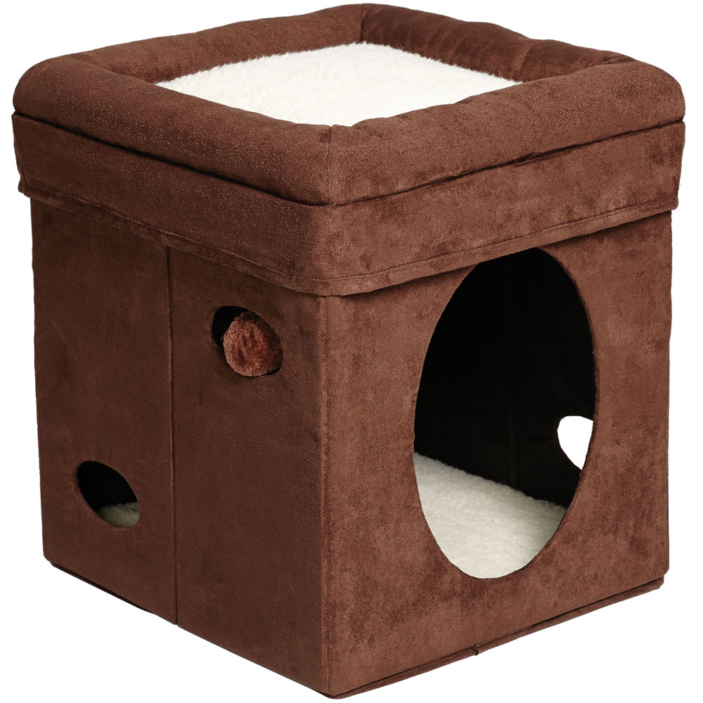 "Image of ""Midwest Curious Cat Cube - Brown (15.125""""x""""15.125""""x""""16.5"""")"""