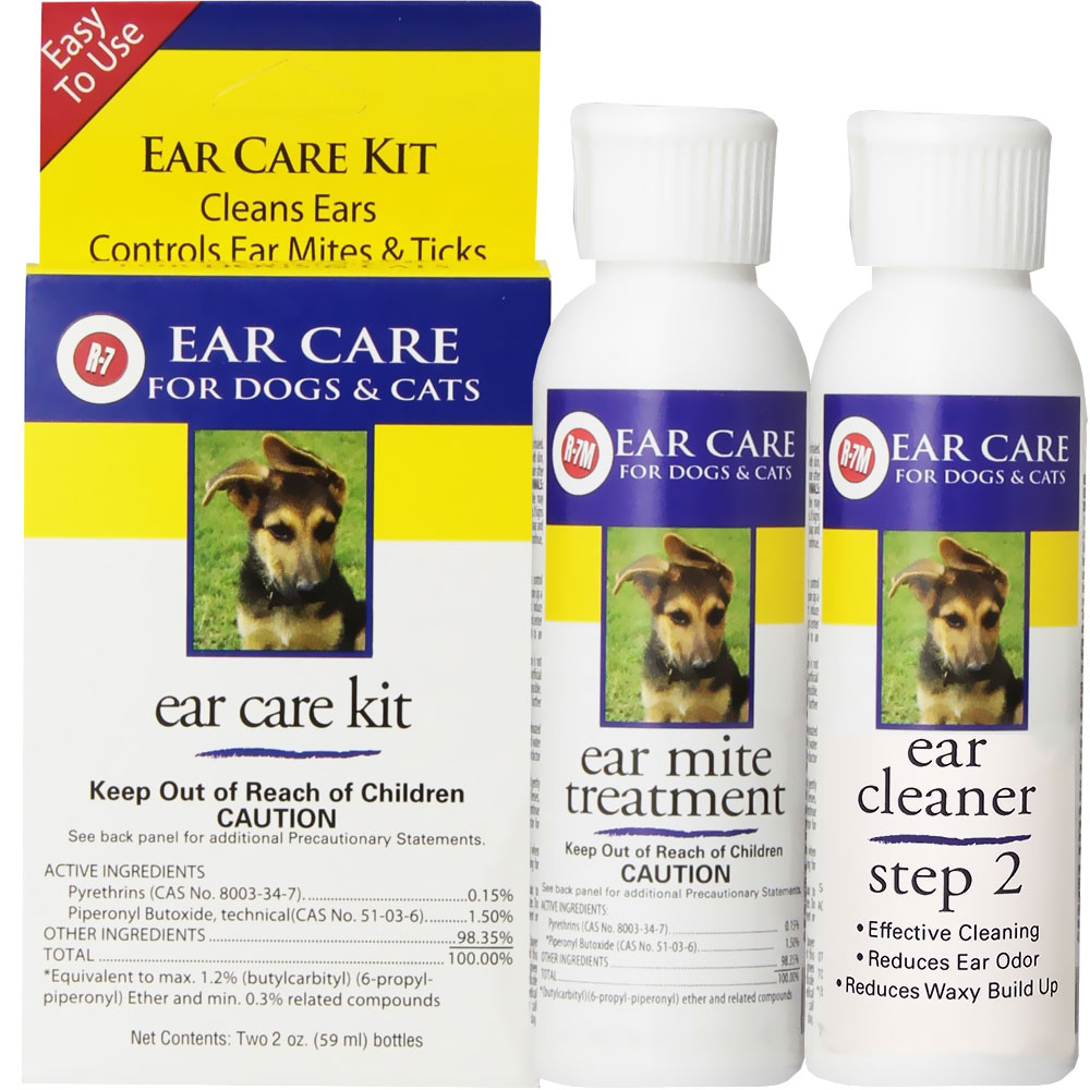 Image of Miracle Care R-7 Ear Care Kit for Dogs & Cats - 2oz R-7 Cleaner, 2oz R-7 Ear Mite Treatment - from EntirelyPets