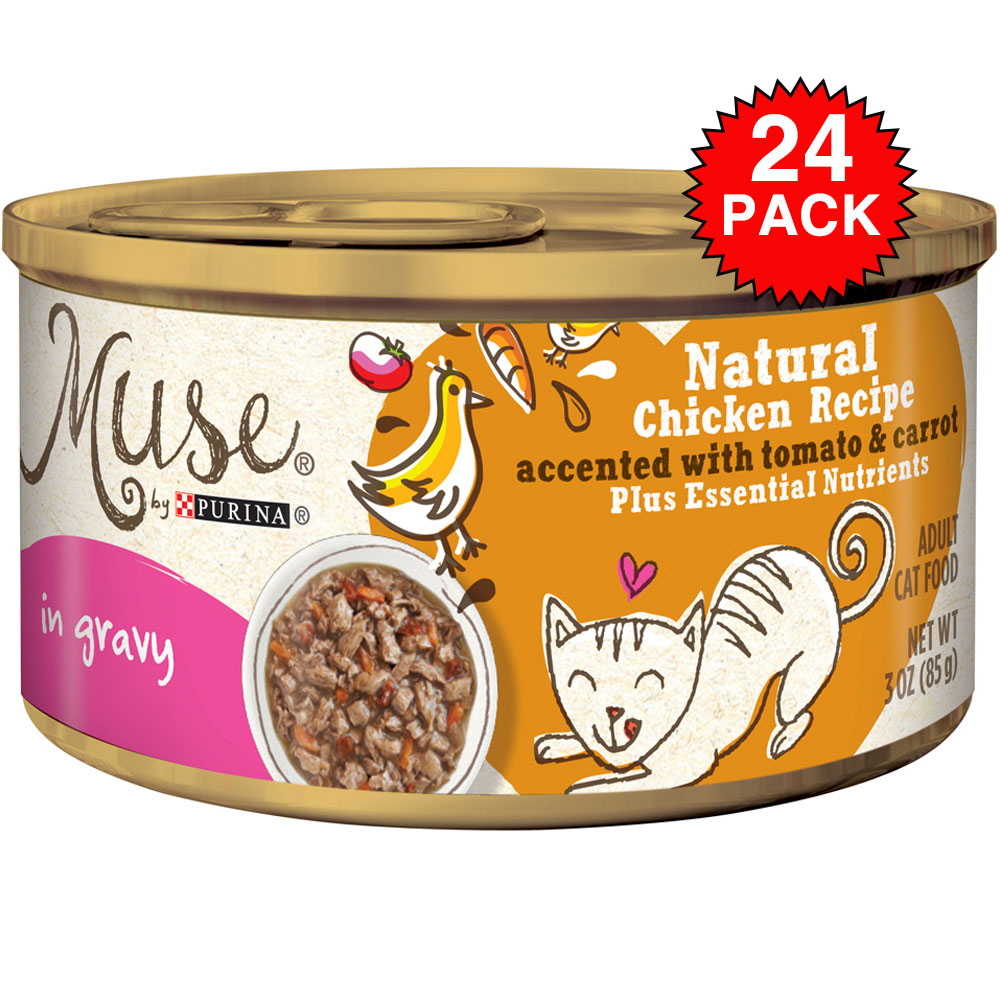 Purina Muse Natural Chicken with Tomato & Carrot Cat Food in Gravy (24x3oz) im test