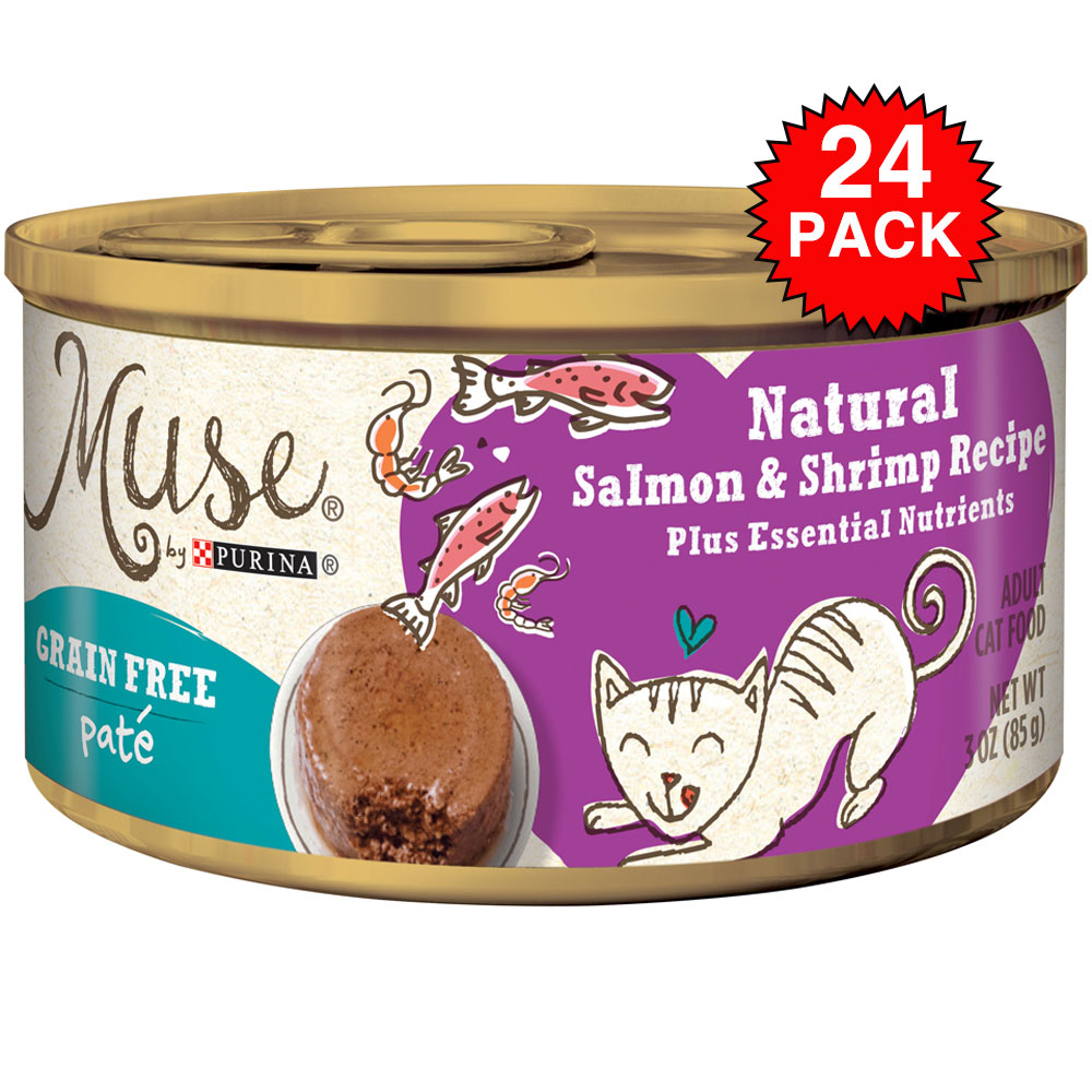 Purina Muse Natural Salmon & Shrimp Cat Food Pate (24x3oz) im test