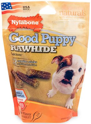 Nylabone Good Puppy Rawhide Calcium - Chicken (12 regular sticks)