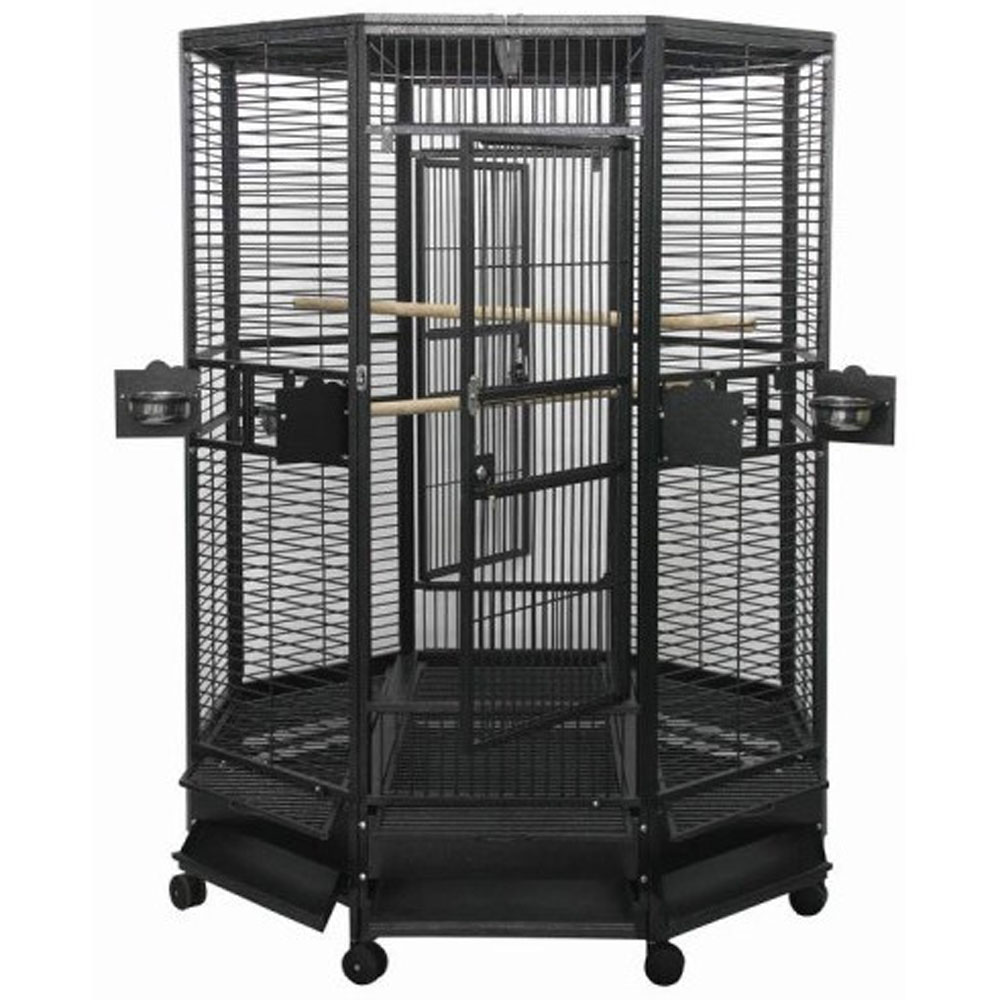 Octagon Parrot Cage 1 Bar Spacing - Black - 52x52x74 - from EntirelyPets