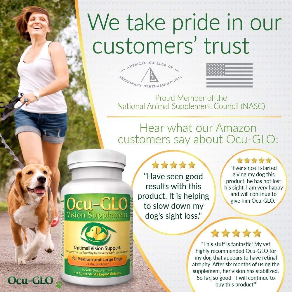 Bottle of Ocu-Glo between woman running with dog and amazon reviews