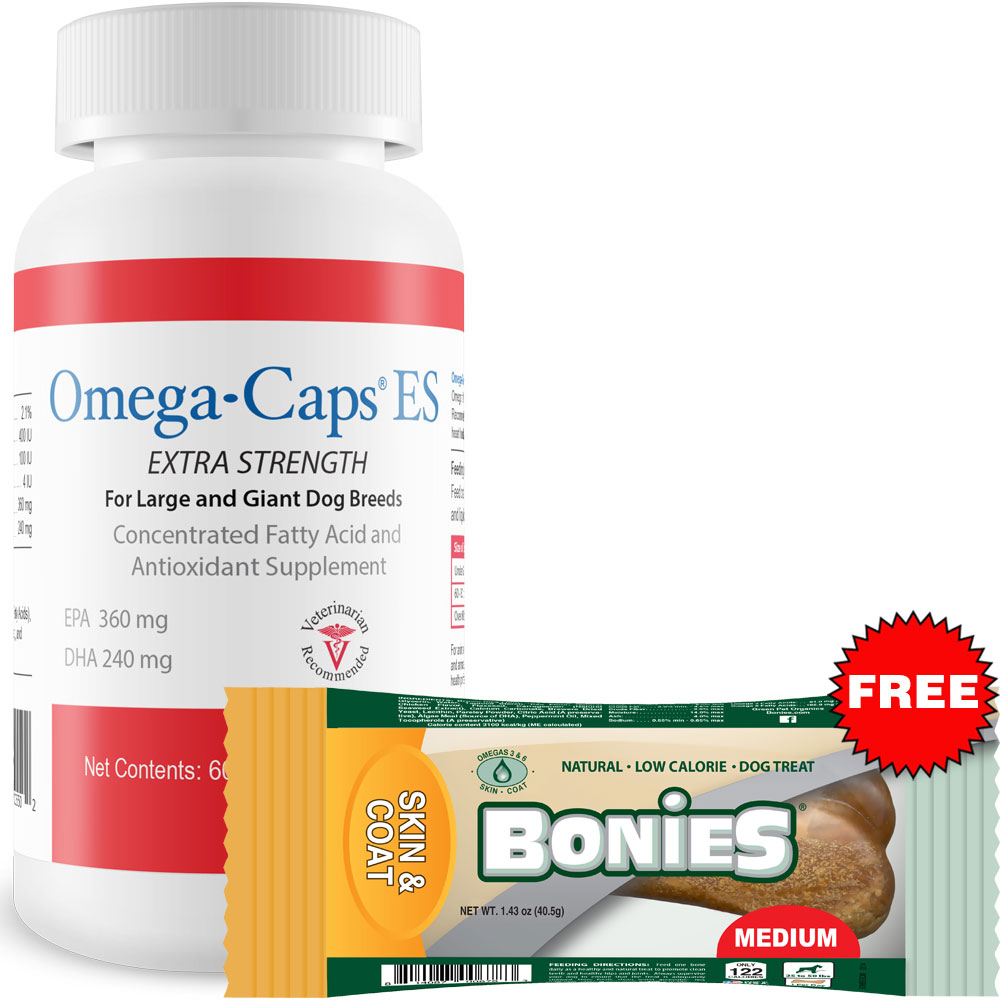Image of Omega-Caps ES For Large & Giant Dogs (60 Softgel Capsules) + Free BONIES Skin & Coat Health LARGE SINGLE BONE (2.23 oz)