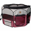 "One for Pets Fabric Portable Pet Playpen - Fuchsia/Grey - Large (46""x46""x20.5"")"