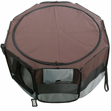 ONE4PETS-PORTABLE-PET-PLAYPEN-FUCHSIA-GREY-SMALL