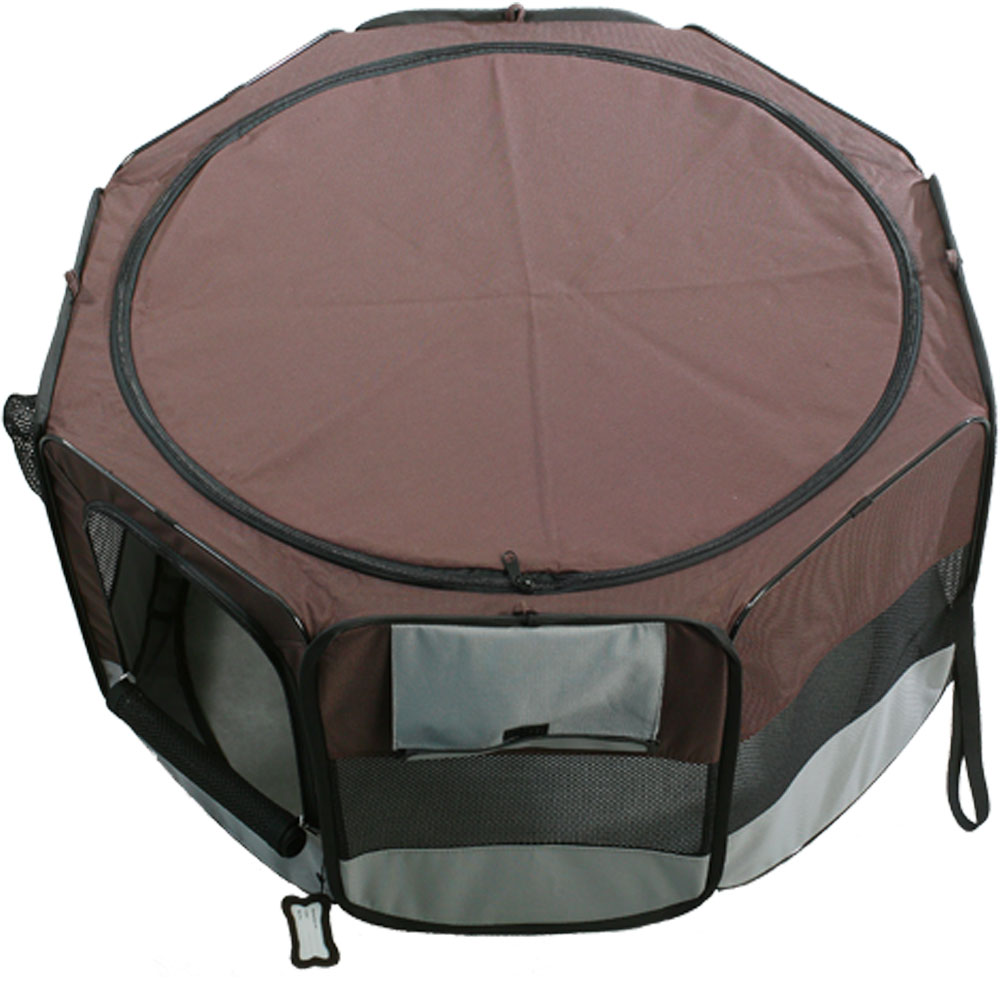 ONE4PETS-PORTABLE-PET-PLAYPEN-GREY-BROWN-LARGE