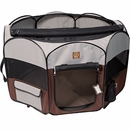 "One for Pets Fabric Portable Pet Playpen - Grey/Brown - XLarge (55""x55""x28"")"