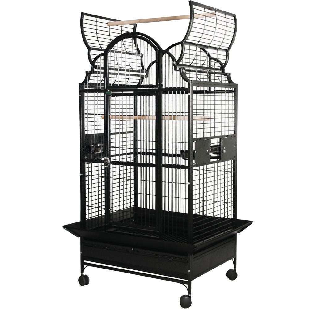 Opening Victorian Top Bird Cage - Black - 24x22x62 - from EntirelyPets