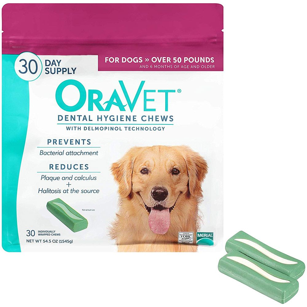 Front of package next to two dental chews