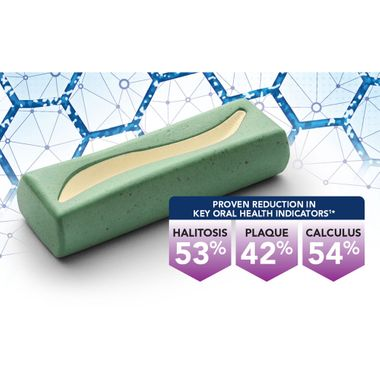 Dental chew with graphic of reduction of halitosis, plaque, and calculus