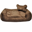 Otis & Claude Sleepy Paws Sadie Square Dog Bed with Bolster - Large