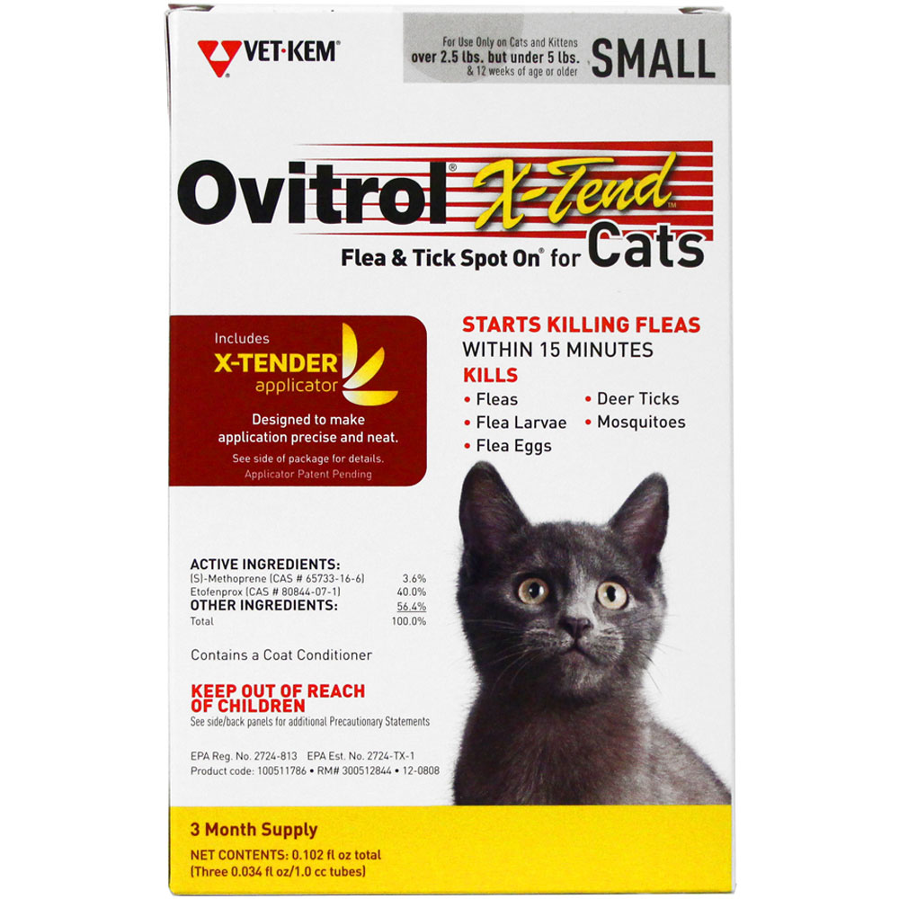 Ovitrol X-Tend Flea & Tick Spot On for Small Cats (2.5-5 lbs) - 3 MONTH im test