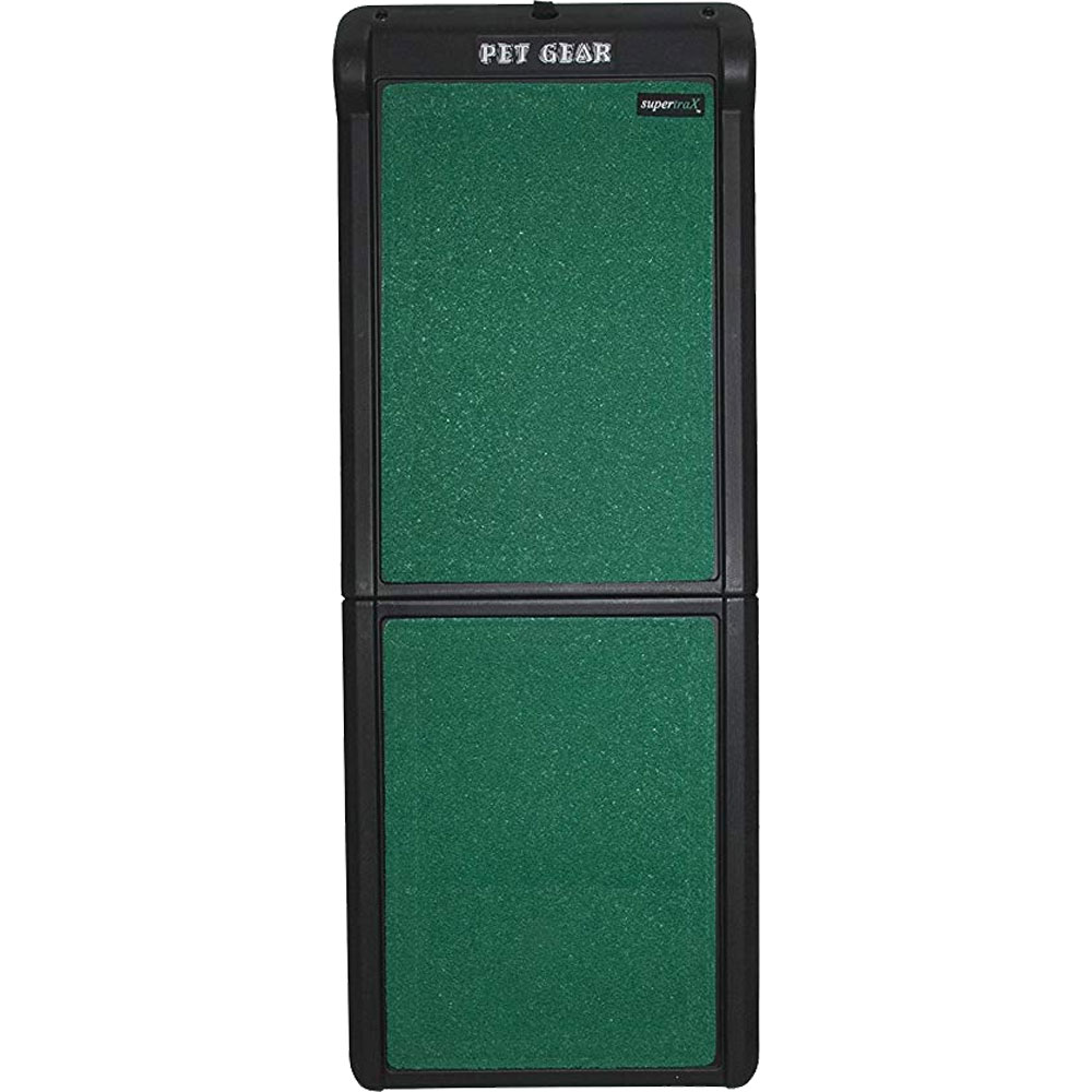 Pet Gear Bi-Fold Travel Lite Pet Ramp With Supertrax - Black/Green - For Dogs - from EntirelyPets