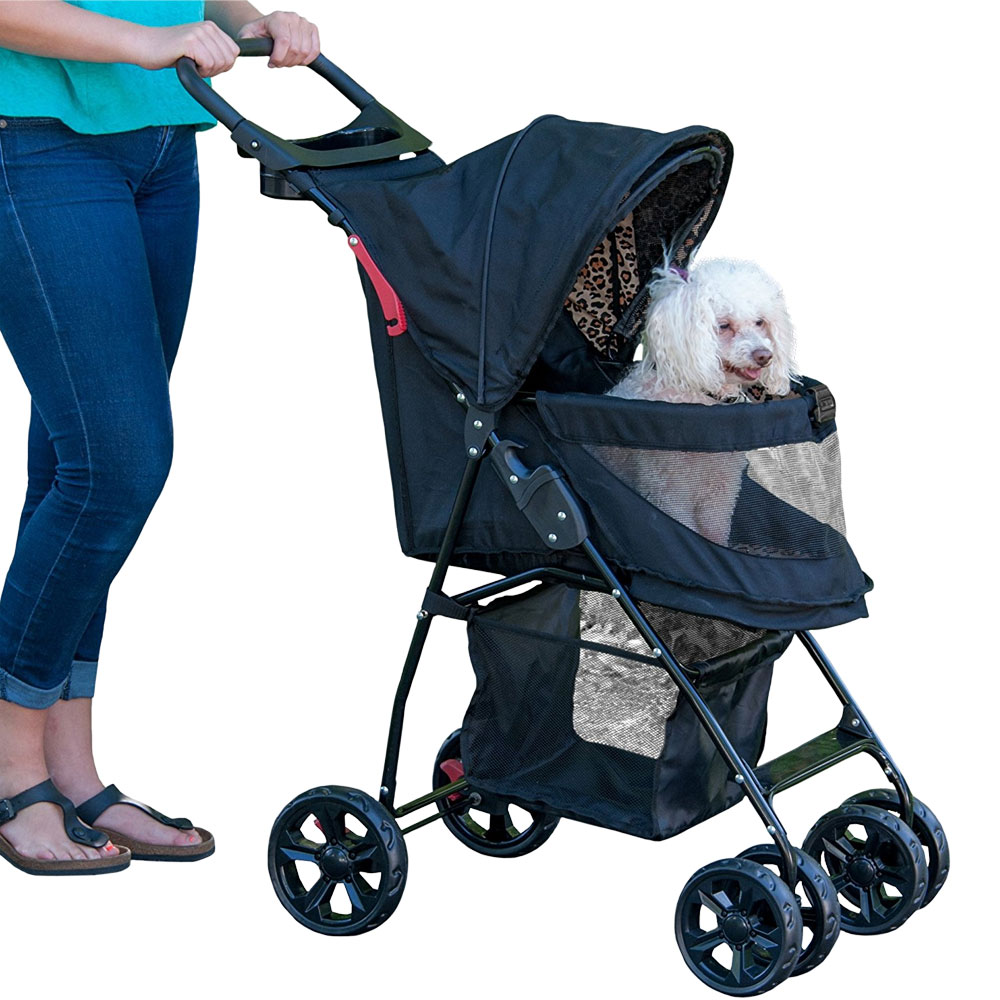 Image of Pet Gear Happy Trails Lite No-Zip Pet Stroller - Jaguar