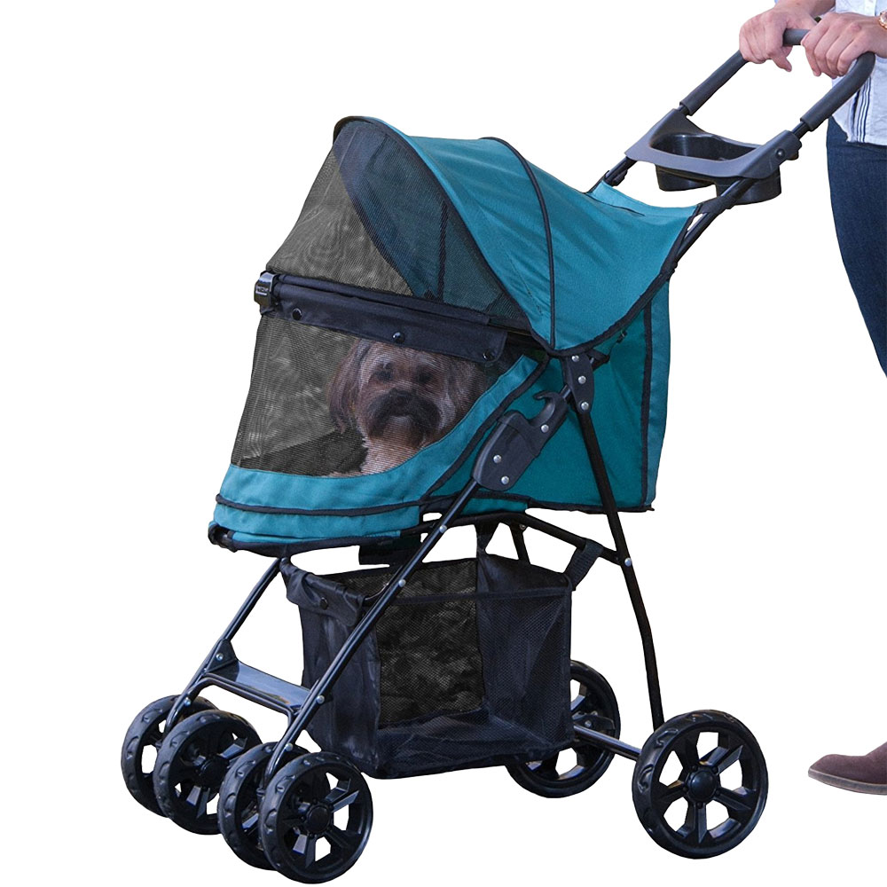 Image of Pet Gear Happy Trails Lite No-Zip Pet Stroller - Pine Green