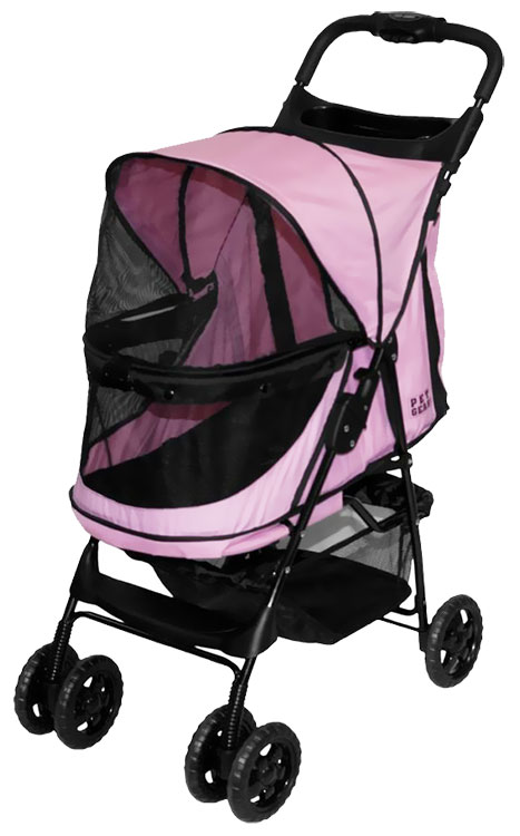 Image of Pet Gear Happy Trails No-Zip Stroller - Pink Diamond