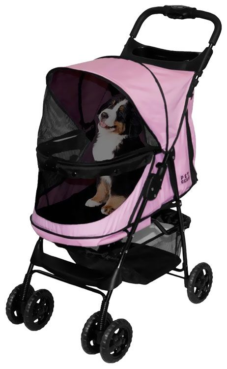 PET-GEAR-HAPPY-TRAILS-NO-ZIP-STROLLER-PINK-DIAMOND