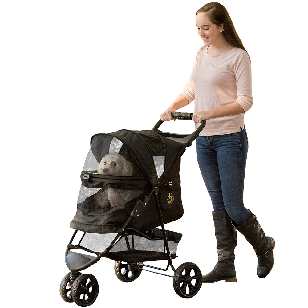 Image of Pet Gear No-Zip Special Edition Pet Stroller - Gold Monogram