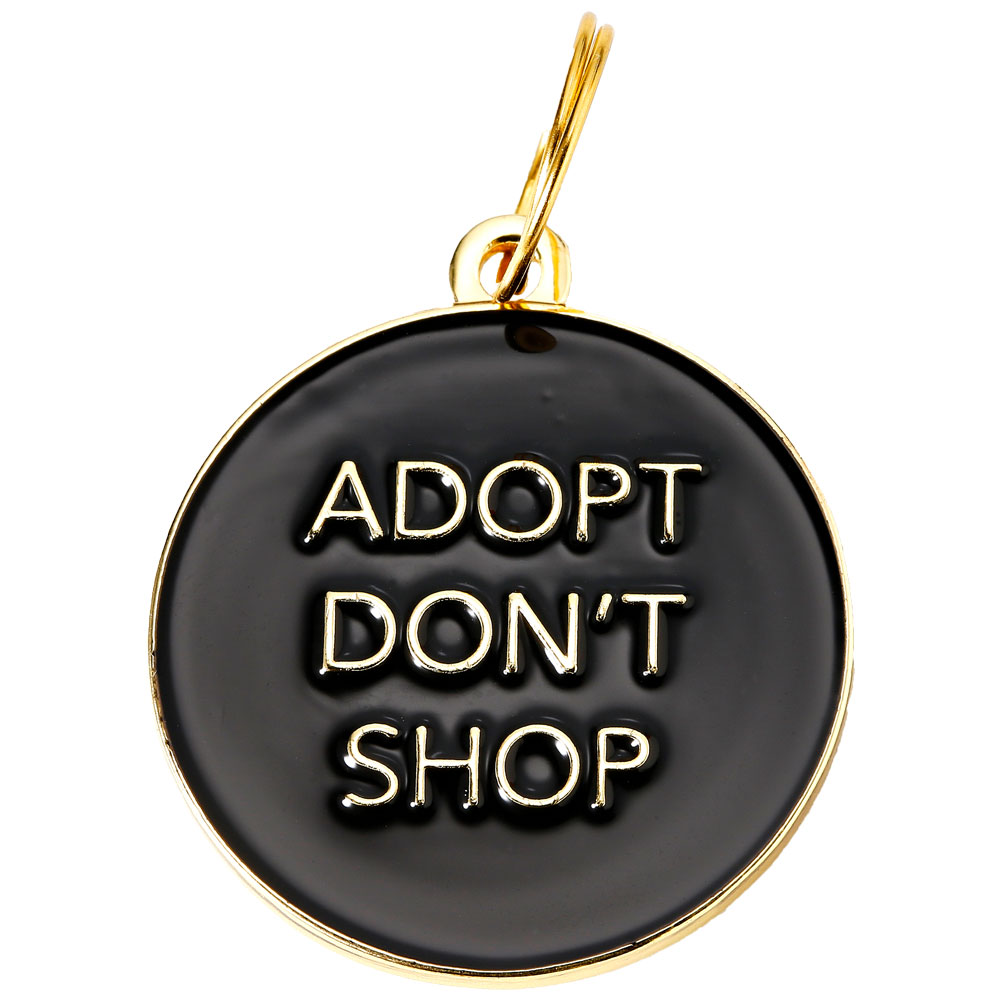 Pet ID Tag - Adopt Don't Shop - Black - For Dogs - from EntirelyPets