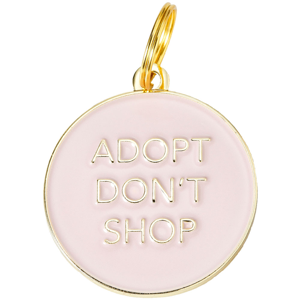 Pet ID Tag - Adopt Don't Shop - Pink - For Dogs - from EntirelyPets