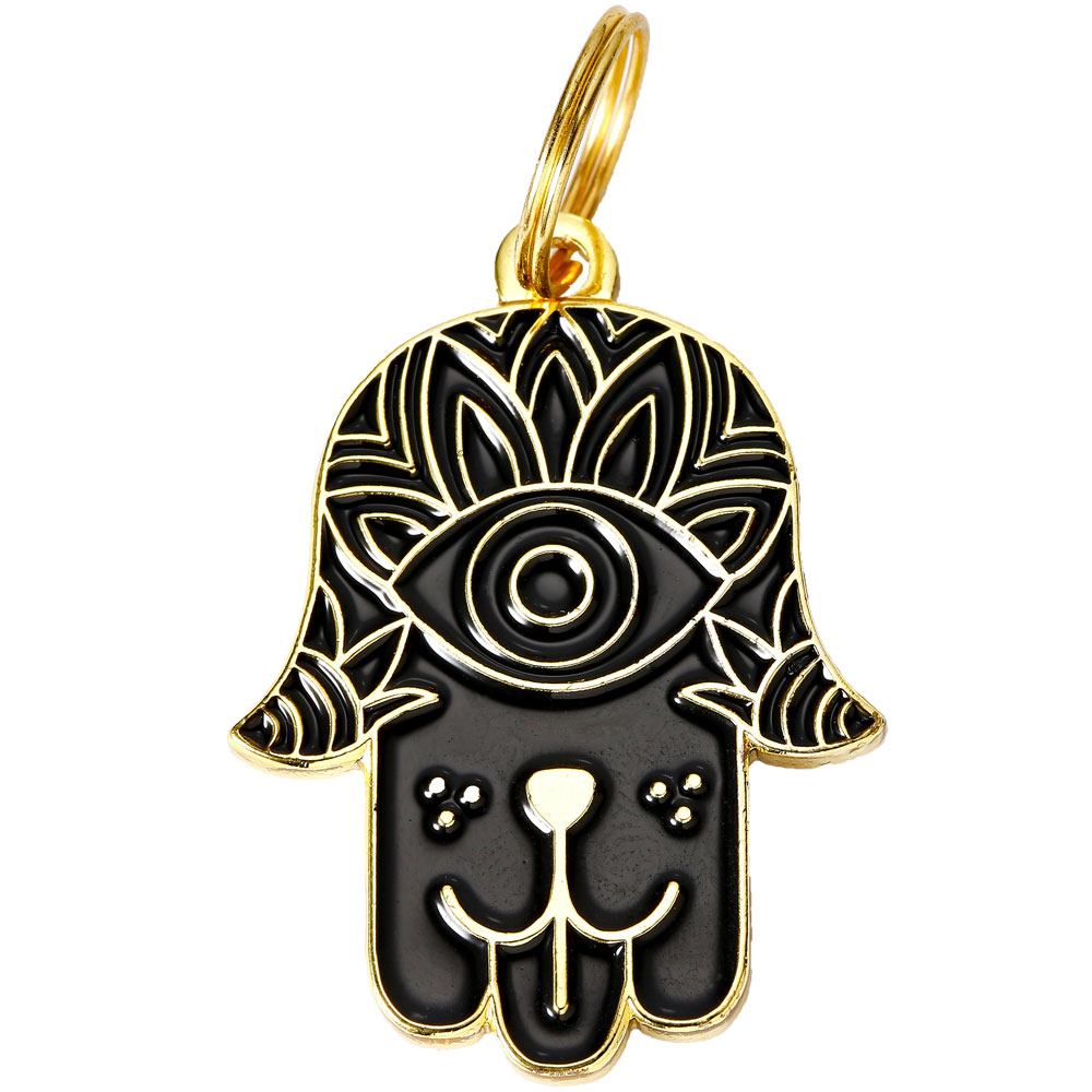 Pet ID Tag - Hamsa - Black - For Dogs - from EntirelyPets
