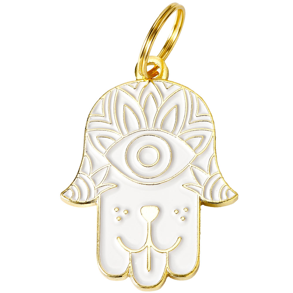Pet ID Tag - Hamsa - White - For Dogs - from EntirelyPets