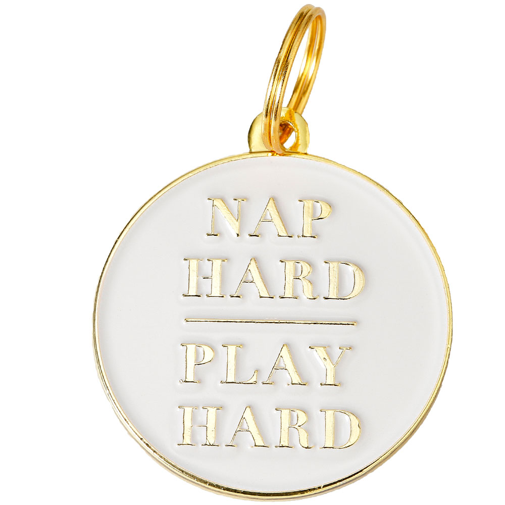 Pet ID Tag - Nap Hard Play Hard - For Dogs - from EntirelyPets