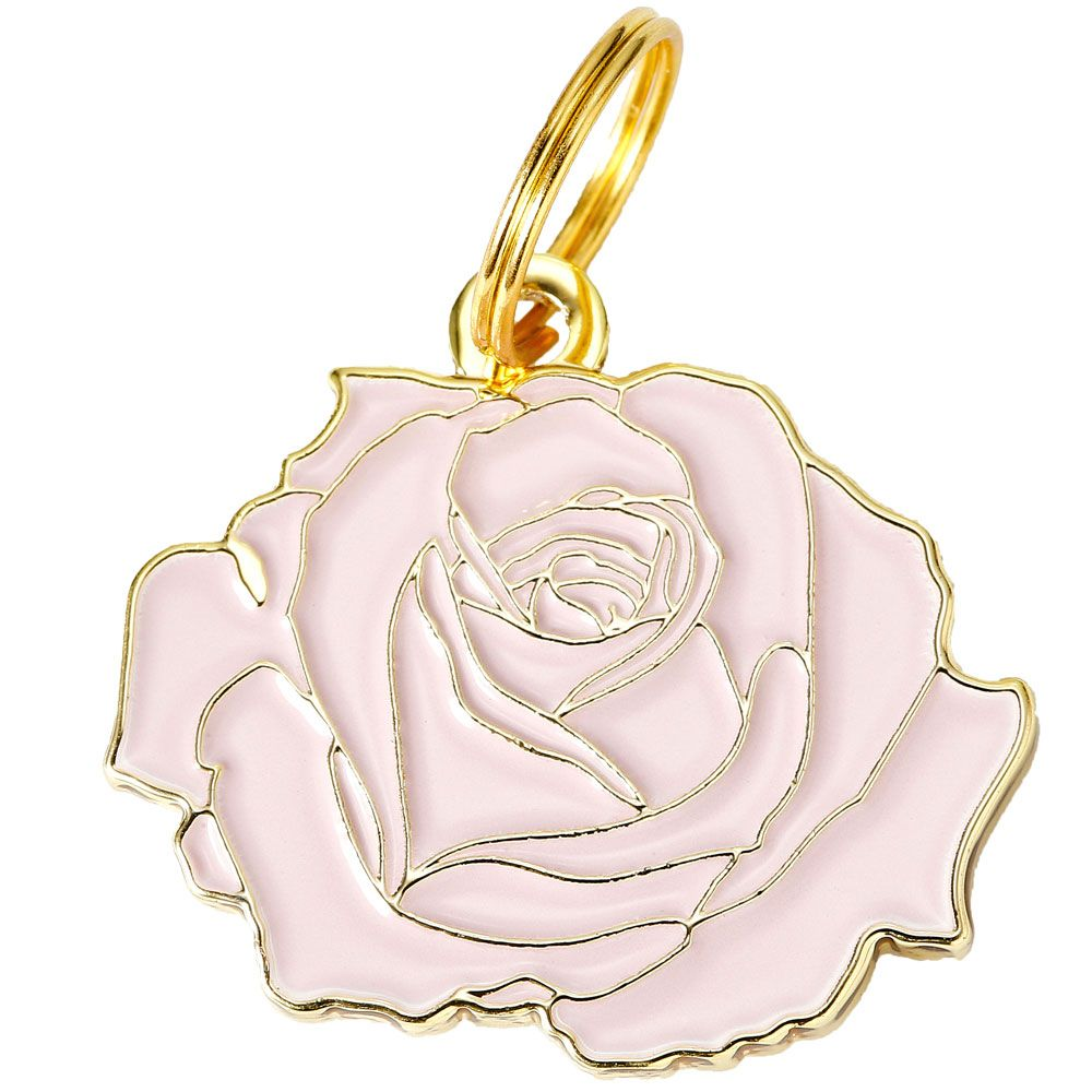 Pet ID Tag - Rose - Pink - For Dogs - from EntirelyPets
