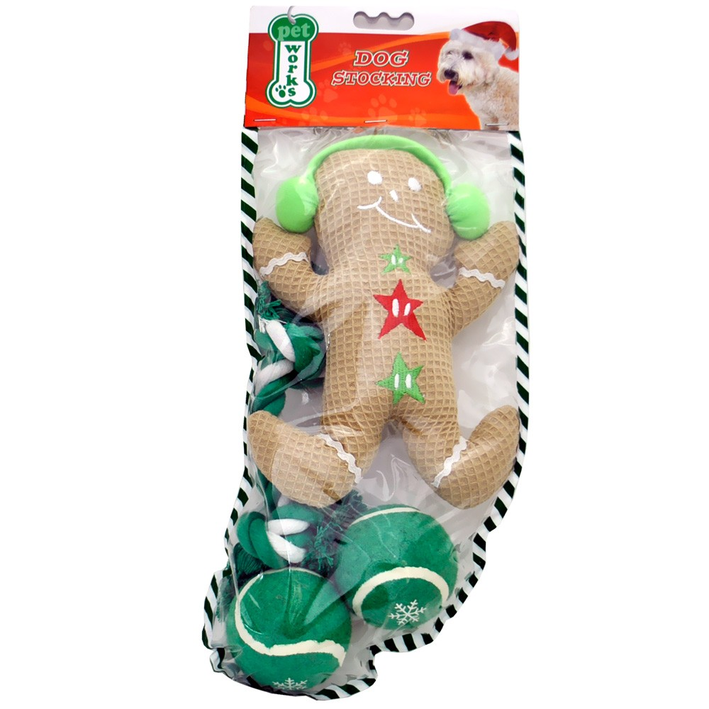 Pet Works Holiday Stocking Set - Gingerbread Man (4 pack) im test