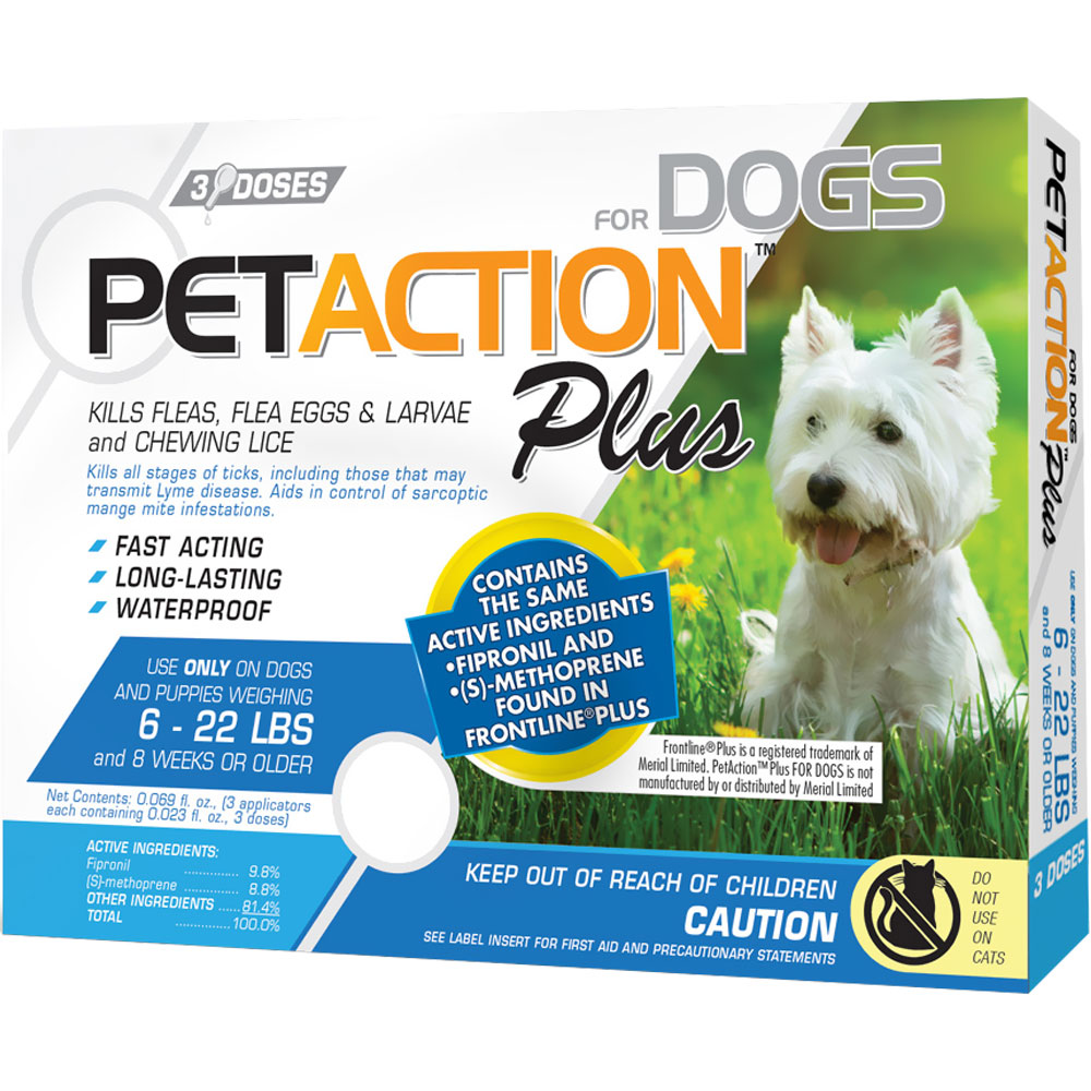 PetAction Plus Flea & Tick Treatment for Small Dogs 6-22 lbs - 3 MONTH im test