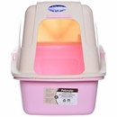 "Petmate Hooded Litter Pan Set with Microban Linen & Pink - Large (18.9""x15.06""x16.99"")"