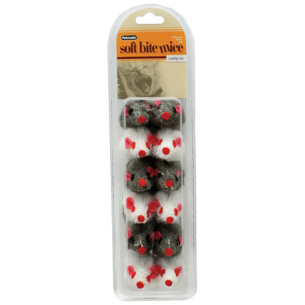 Image of Booda Petmate Soft Bite Fur Catnip Mice - Small - 12 pack - from EntirelyPets