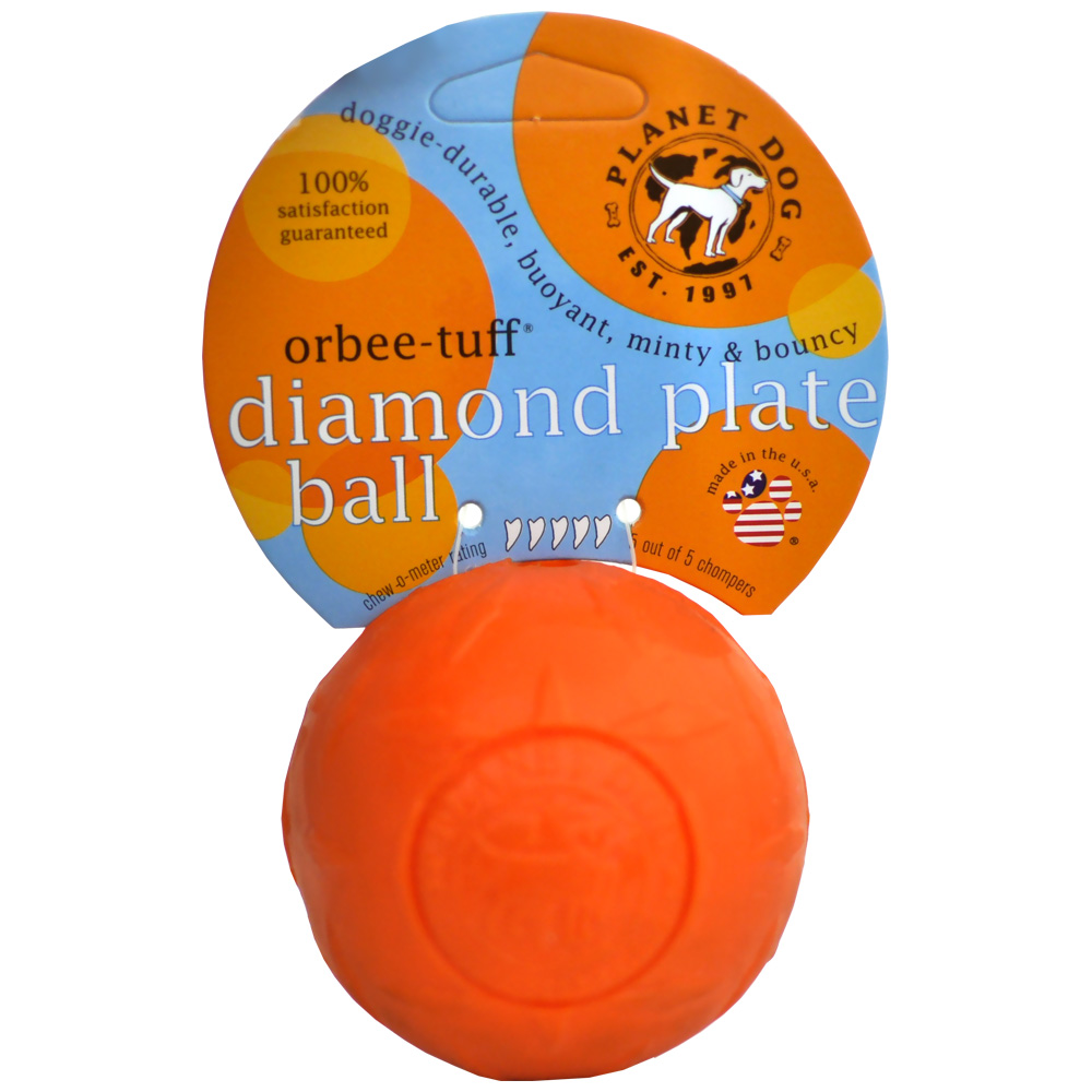 Image of Planet Dog Orbee-Tuff Diamond Plate Orbee Ball - Orange from EntirelyPets
