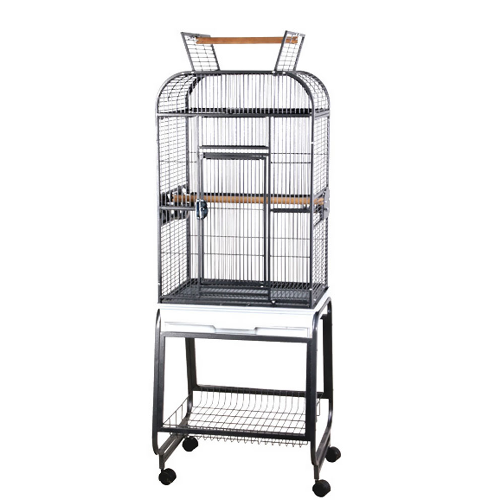 Play Top Bird Cage with Plastic Base – Black – 22″x17″x66″ – from EntirelyPets