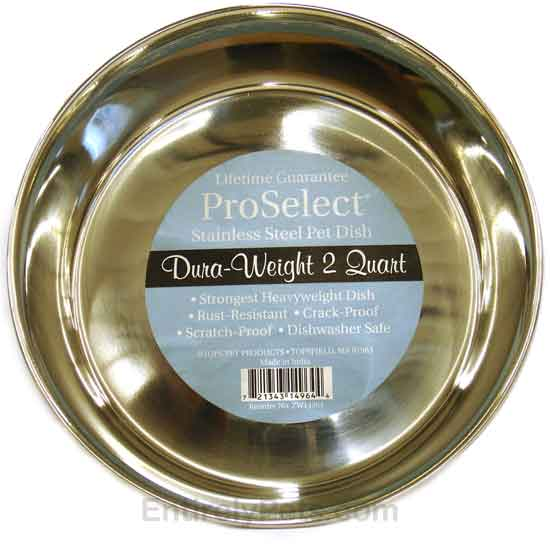 """""""ProSelect Stainless Steel Pet Dish Dura-Weight (2 Qt Width=8"""""""")"""" im test"""