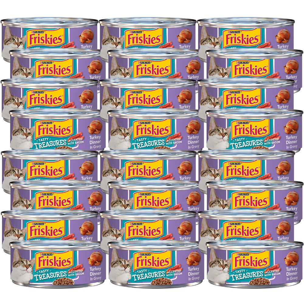 Image of Purina Friskies Tasty Treasures Turkey Dinner in Gravy Canned Cat Food - 24x5.5 oz - from EntirelyPets