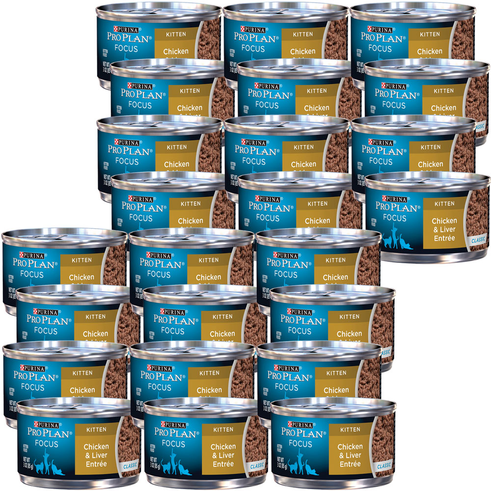 Image of Purina Pro Plan Focus - Classic Chicken & Liver Entree Canned Kitten Food (24x3 oz)