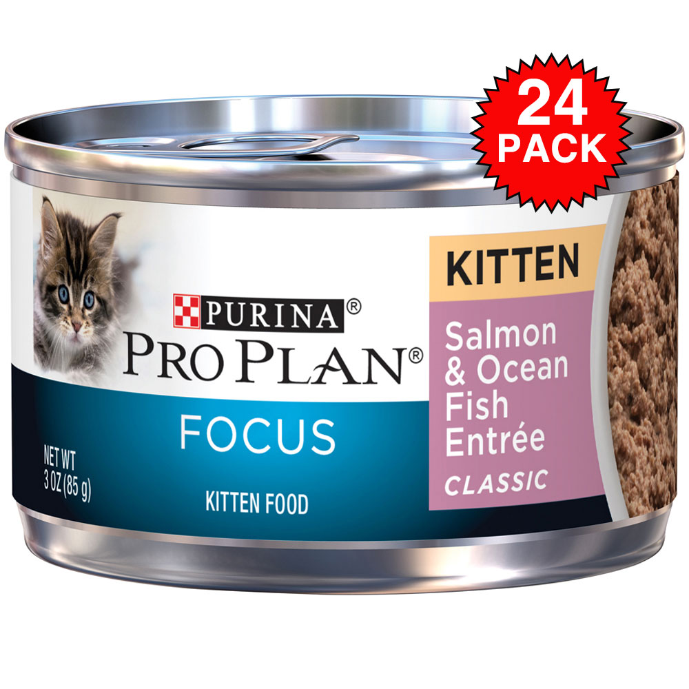 Purina Pro Plan Focus - Classic Salmon & Ocean Fish Entre Canned Kitten Food (24x3oz) im test