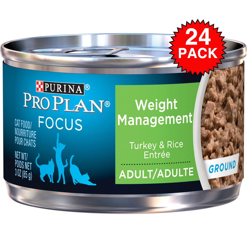 Purina Pro Plan Focus - Weight Management Turkey & Rice Entre Canned Adult Cat Food (24x3oz) im test