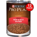 Purina Pro Plan Savor - Beef & Rice Entrée Canned Adult Dog Food (12x13oz)